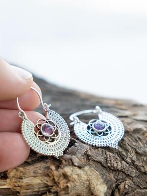 Orecchini mini argento rotondi a fiore con Pietra Ametista