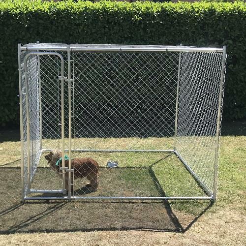 Recinto per cani  2,28 x 2,28 mt |da esterno con telo ombreggiante