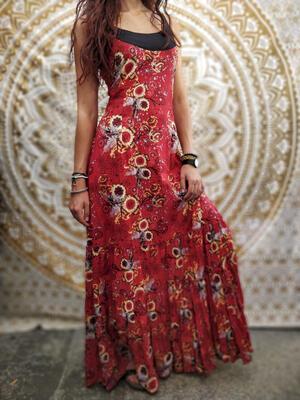 Vestito donna lungo Ganga a balze orizzontali - fiorato rosso