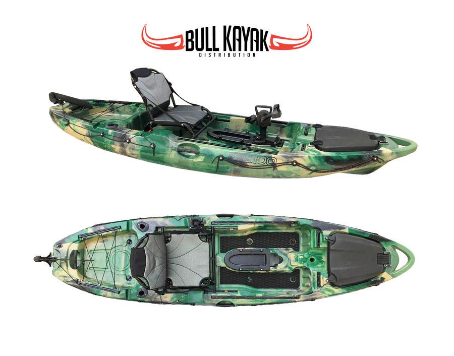 KAYAK TONALE PDK S100 FISHING A PEDALI BULL KAYAK - CANOA 320 CM CON TIMONE + GAVONE + 2 PORTACANNE + PAGAIA  + SEGGIOLINO ALLUMINIO COMFORT
