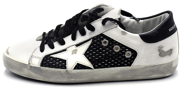 Sneakers Golden Goose Super star double quarter with list Bianca e nera GMF00103 F000357 10283