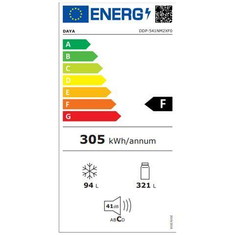 DAYA Frigorifero Doppia Porta DDP-541NM2XF0 Classe Energetica F Colore Inox