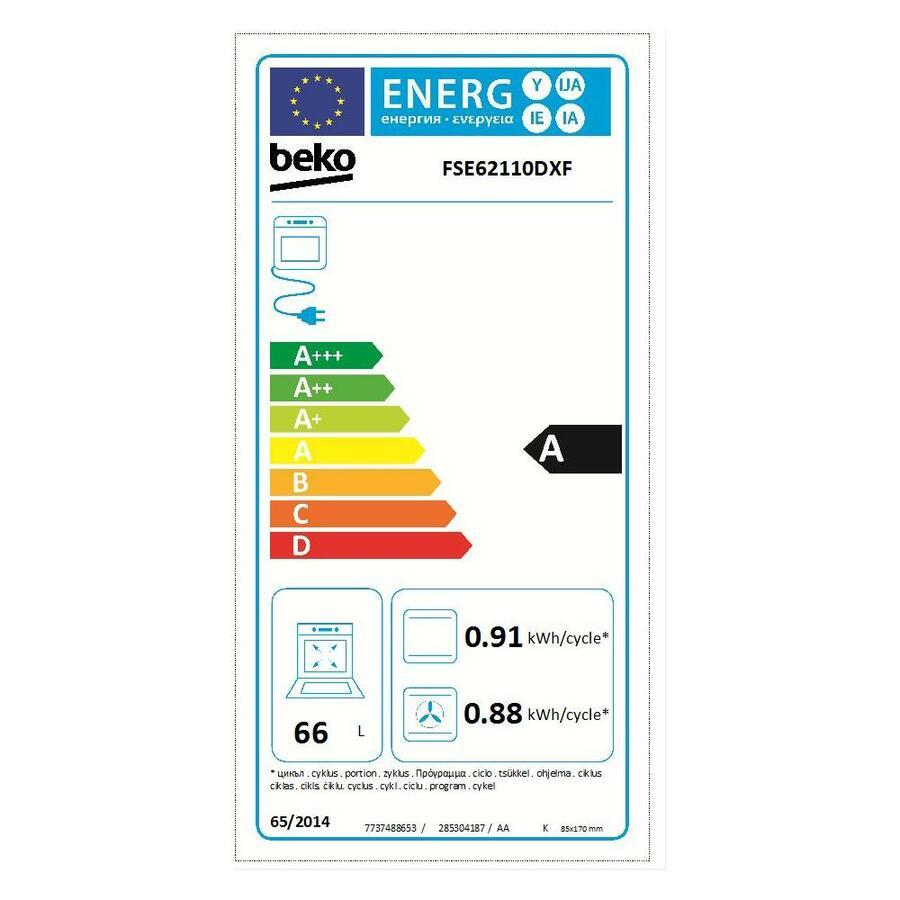 BEKO Cucina Elettrica FSE62110DXF 4 Fuochi a Gas Forno Elettrico Multifunzione Classe A Dimensioni 60 x 60 cm Colore Inox