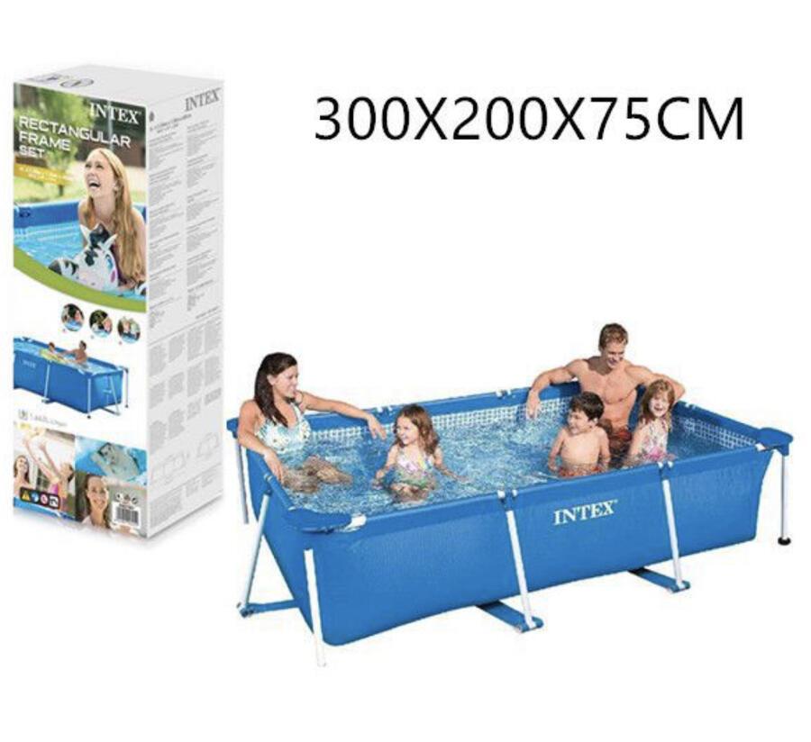 Piscina 300x200x75 cm Intex Frame Rettangolare 3834 Litri Azzurro