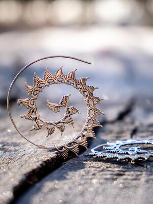 Orecchini argentati rotondi a spirale con ali