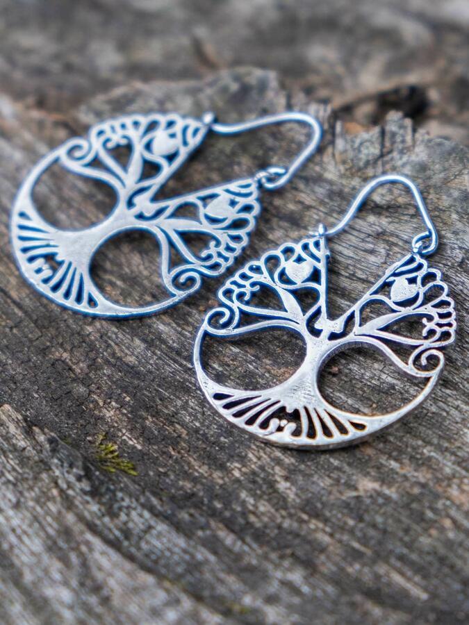Orecchini argento rotondi con albero della vita