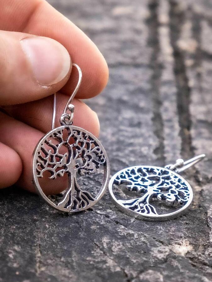Orecchini pendenti ottone placcato argento rotondi con albero della vita