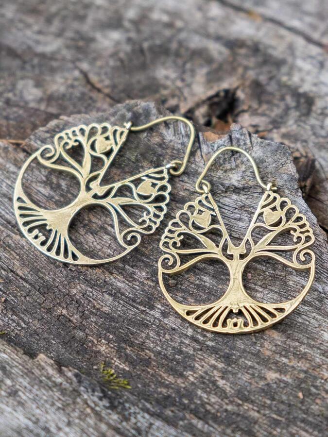 Orecchini oro rotondi con albero della vita