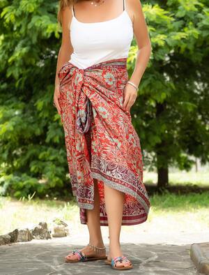 Pareo donna in seta indiana - rosso viola verde oro