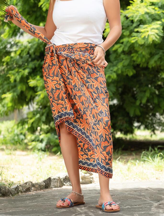 Pareo donna in seta indiana - fiorato arancione
