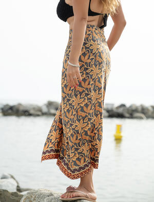 Pareo donna in seta indiana - fiorato giallo