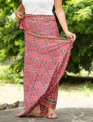Pareo donna in seta indiana - fiorato fucsia
