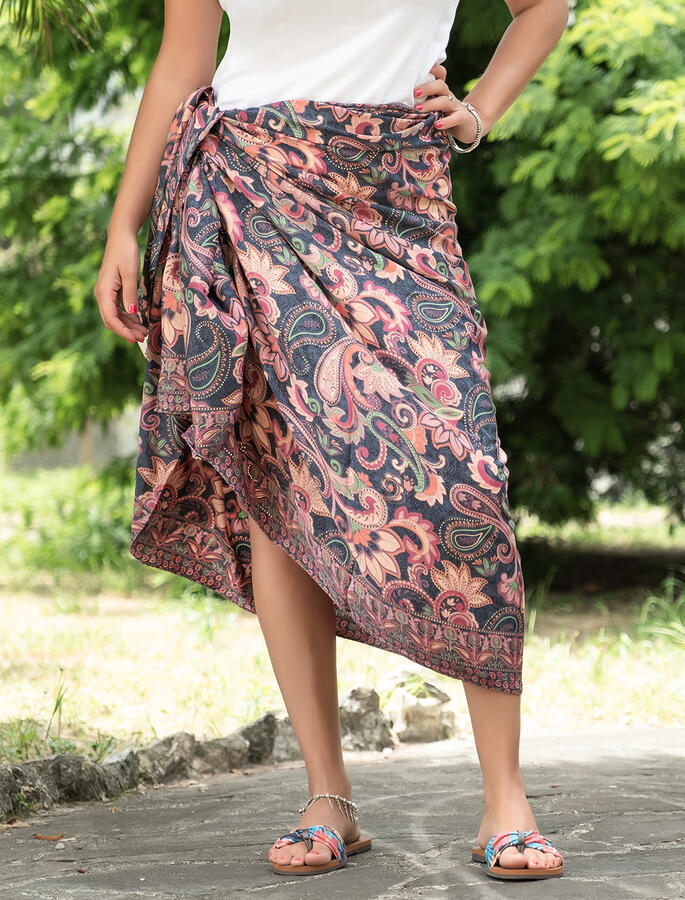 Pareo donna in seta indiana - corallo fucsia oro