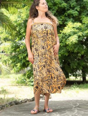Pareo donna in seta indiana - senape marrone oro