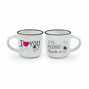 """ESPRESSO FOR TWO 2 TAZZINE DA CAFFE' """"I LOVE YOU"""" - """"TO THE MOON & BACK"""" LEGAMI"""