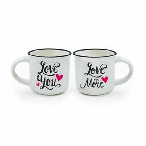 """ESPRESSO FOR TWO 2 TAZZINE DA CAFFE' """"LOVE YOU"""" - """"LOVE YOU MORE"""" LEGAMI"""