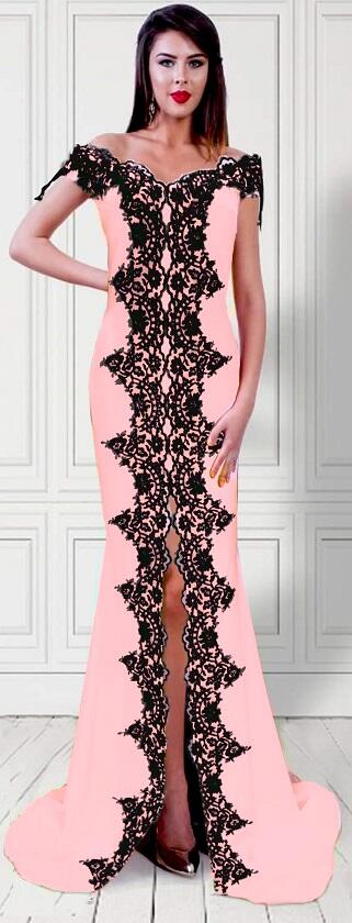 0703 LONG SIREN DRESS WITH CENTRAL SLIT IN ELASTIC CREPE AND BLACK MACRAME