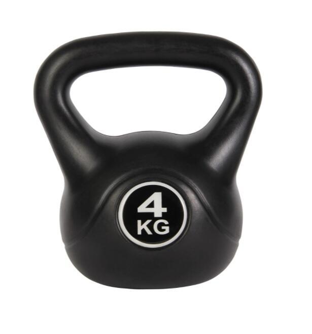 Peso Kettlebell da 4 Kg Pesi Palestra per Sport e Fitness Esercizi con Maniglia Liscia Anti-Sfregamento Nero…