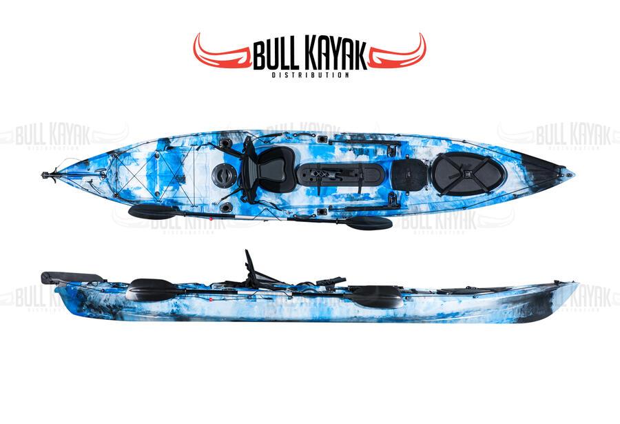 MALBEC IL THUNDER FISHING BULL KAYAK 2021 - CANOA 423 CM CON TIMONE + 4 GAVONI + 4 PORTACANNE INTERNI+ PAGAIA + SEGGIOLINO