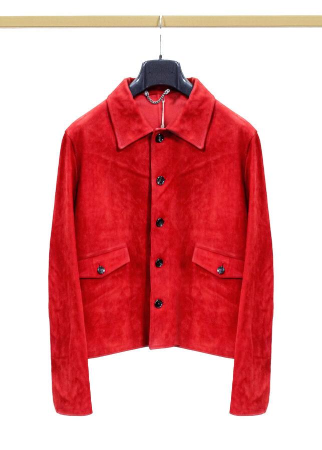 Giubbino Golden Goose military jacket rosso da uomo scamosciata taglia M G31MP542.B2
