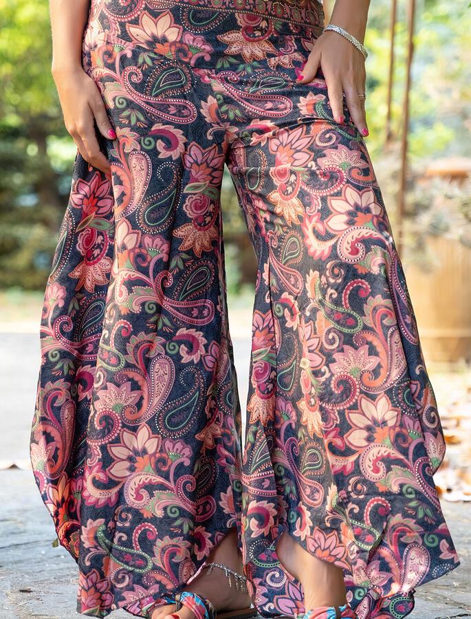 Pantalone donna Payal lungo a triangolo - corallo fucsia oro