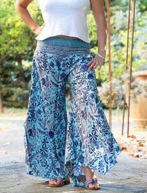 Pantalone donna Payal lungo a triangolo - turchese blu oro