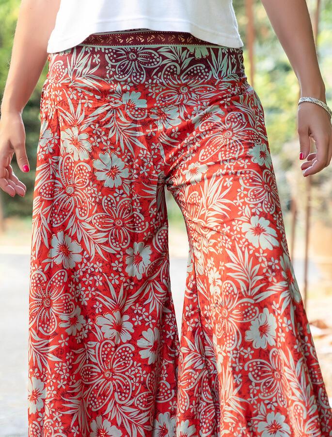 Pantalone donna Payal lungo a triangolo - rosso viola verde oro