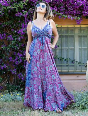 Vestito seta lungo Lali stile romantico - fucsia viola oro