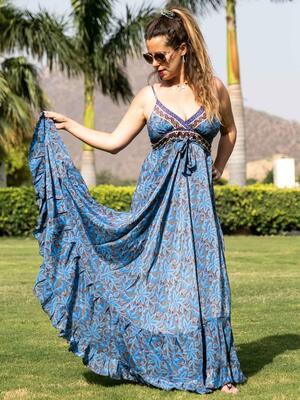 Vestito seta lungo Lali stile romantico - fiorato blu