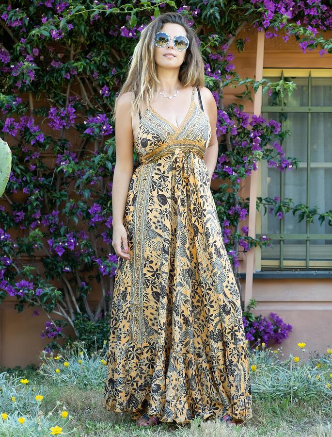 Vestito seta lungo Lali stile romantico - senape marrone oro