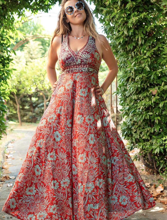 Vestito lungo Daya corpetto stile antico - rosso viola verde  oro