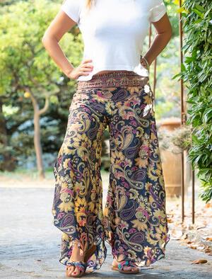 Pantalone donna Payal lungo a triangolo - giallo fucsia oro