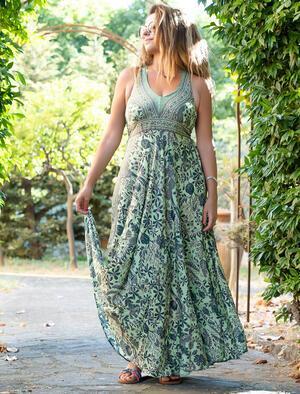 Vestito lungo Daya corpetto stile antico - verde oro
