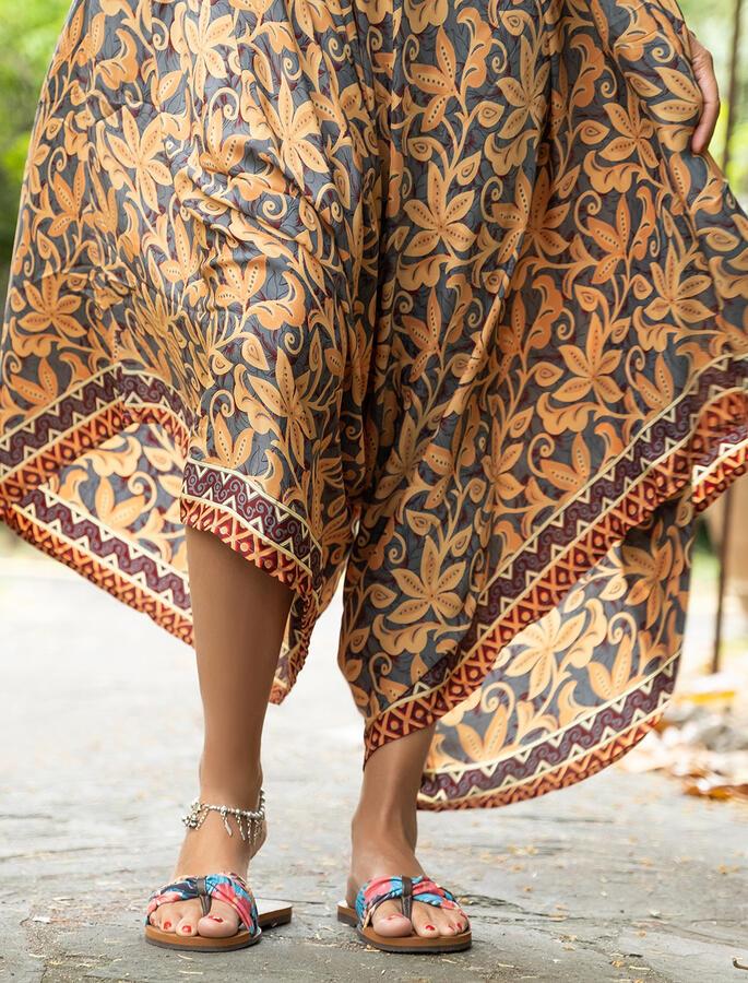 Vestito Tuta lungo Juhi gambe svasate - fiorato giallo