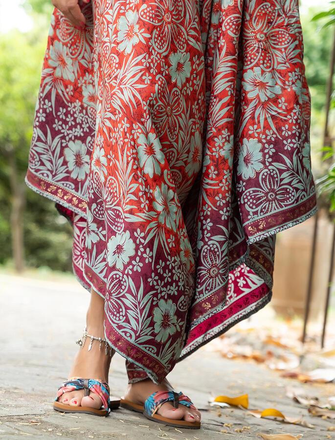 Vestito Tuta lungo Juhi gambe svasate - rosso viola verde oro