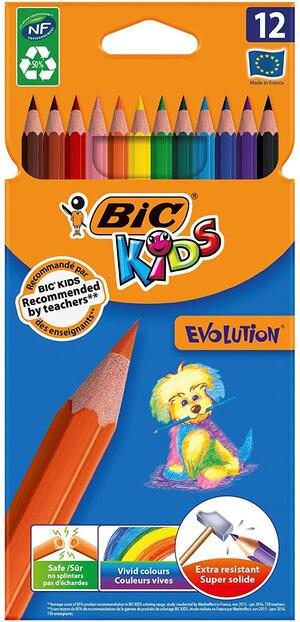 PASTELLI EVOLUTION SENZA LEGNO CONFEZIONE 12 PEZZI BIC KIDS