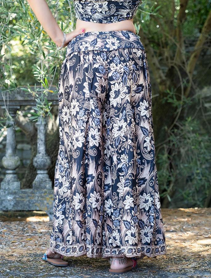 Pantalone donna lungo Ratna a palazzo - nero oro
