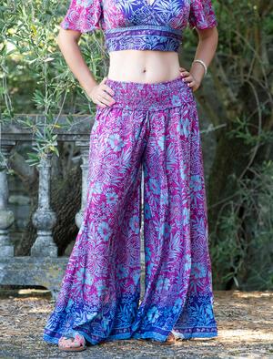 Pantalone donna lungo Ratna a palazzo - fucsia viola oro