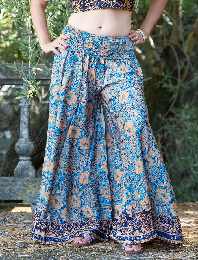 Pantalone donna lungo Ratna a palazzo - azzurro ocra oro