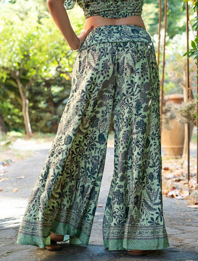 Pantalone donna lungo Ratna a palazzo - verde oro