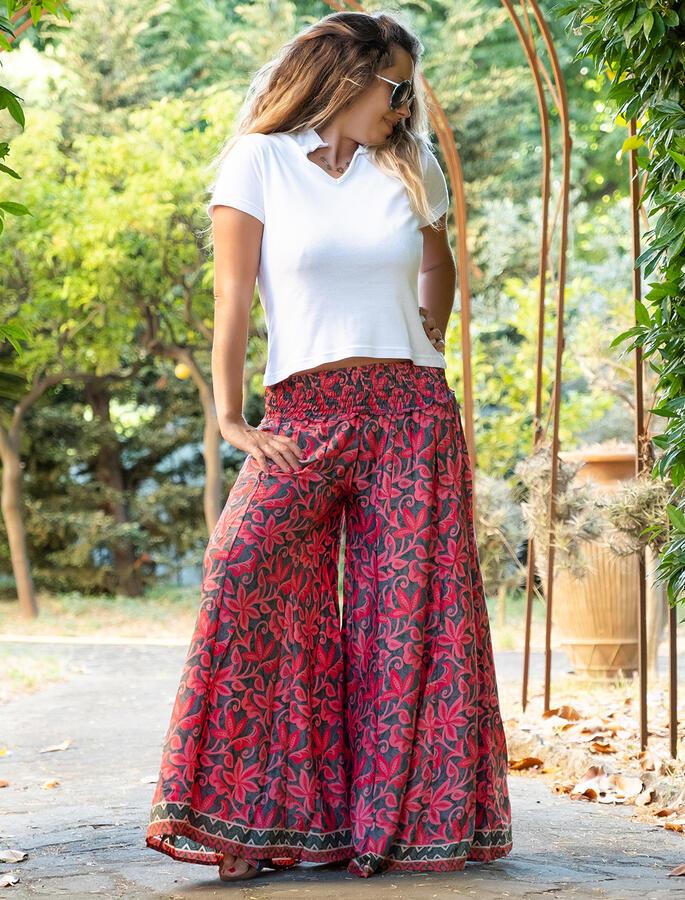 Pantalone donna lungo Ratna a palazzo - fiorato fucsia