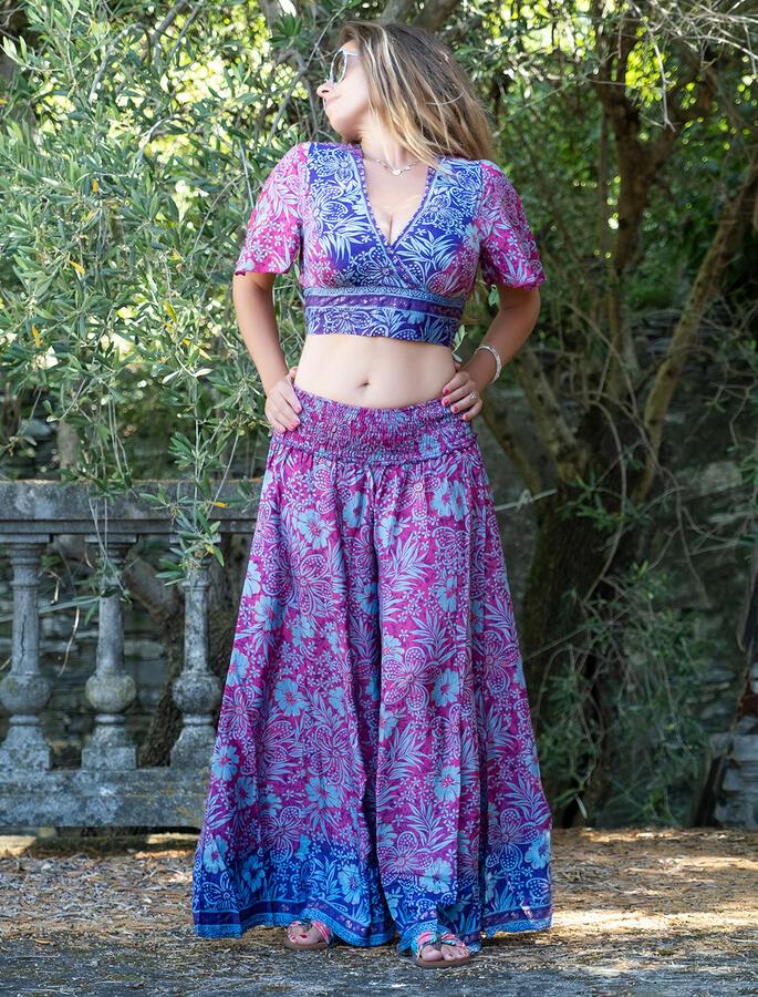 Top donna corto Jyoti con maniche - fucsia viola oro