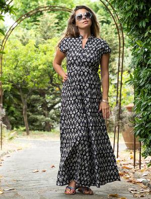 Vestito donna lungo Jagrati maniche a sbuffo - rombi grigio nero