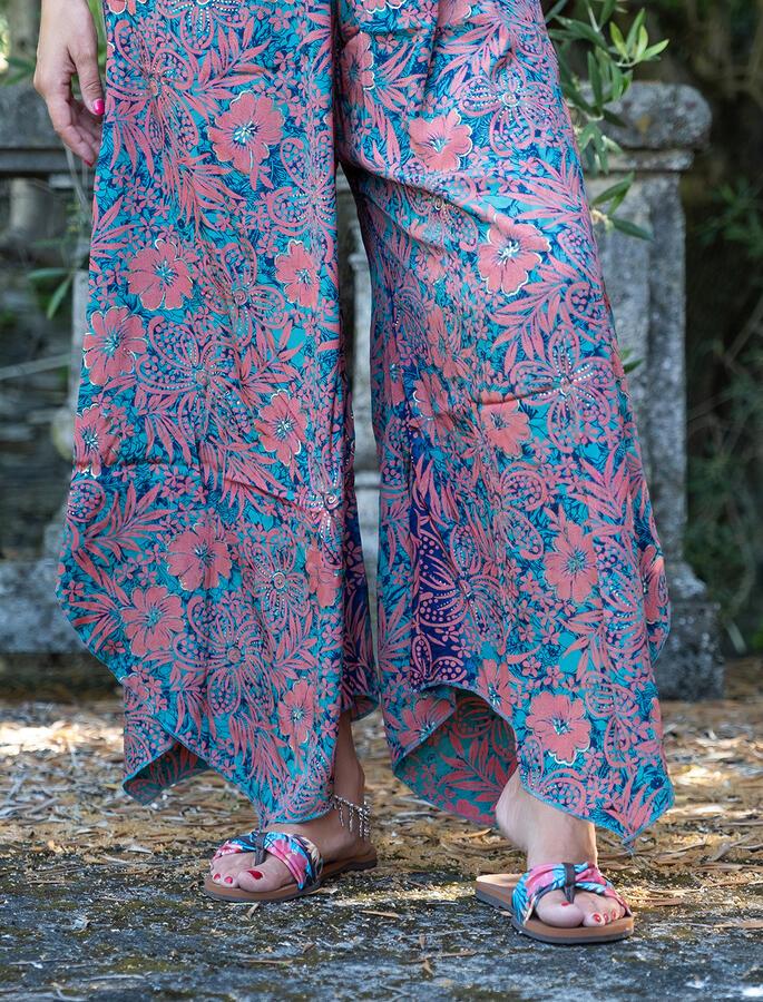 Vestito Tuta lungo Manju maniche e gambe ampie - verde acqua corallo oro