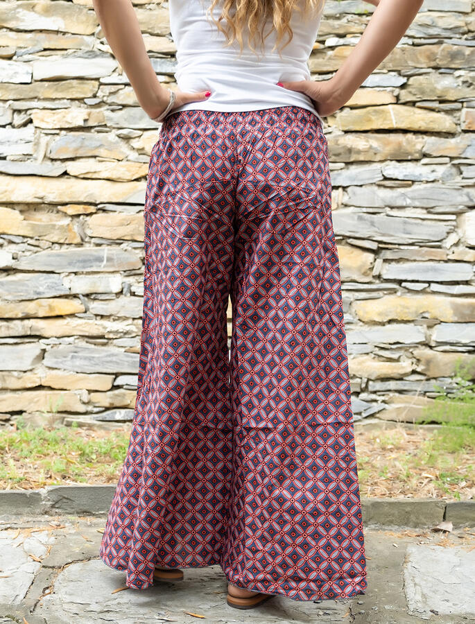 Pantalone donna lungo Ekta gamba larga - cerchi rosso blu