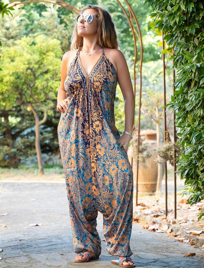 Vestito Tuta lungo Anurati stile Aladino - azzurro ocra oro