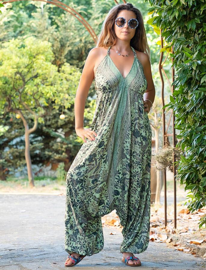 Vestito Tuta lungo Anurati stile Aladino - verde oro