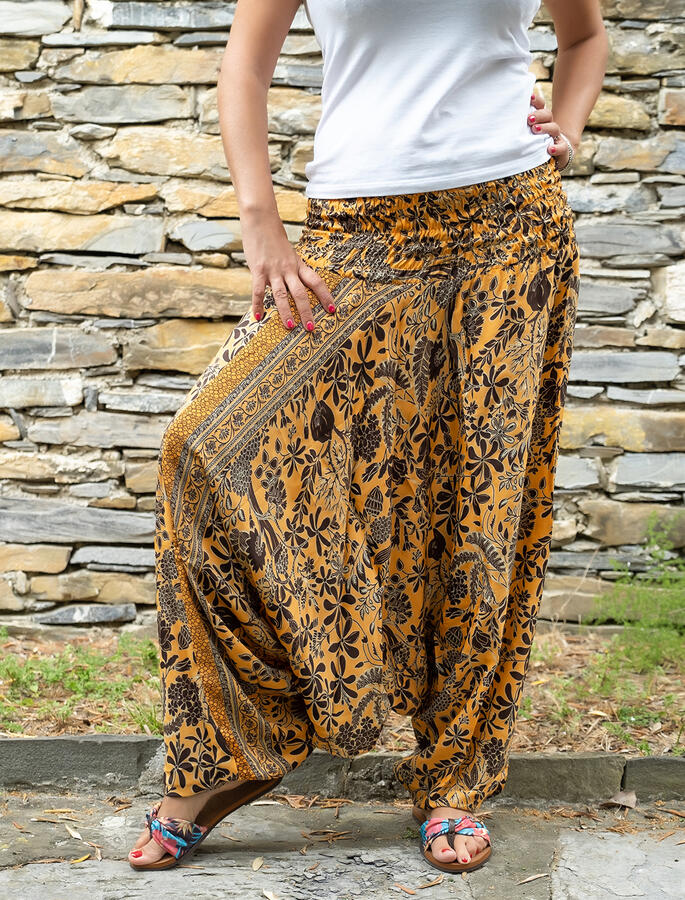 2 in 1 Ambu: Pantalone e Vestito donna  - senape marrone oro