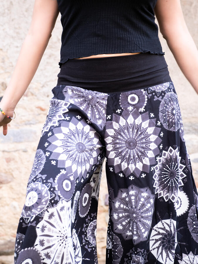 Woman's flared trousers Keertana - white mandala