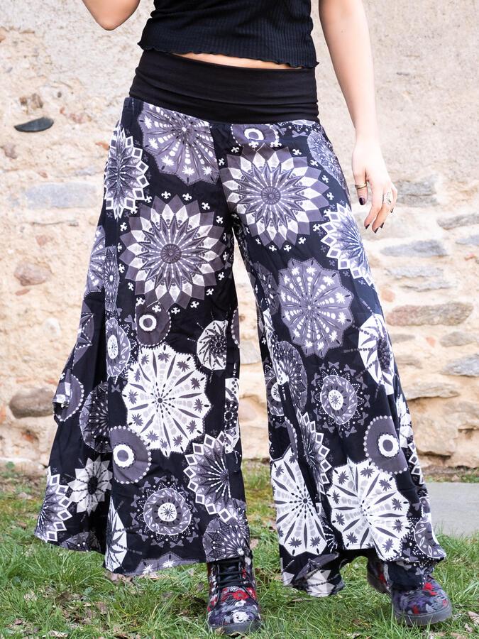 Pantalone donna Keertana zampa d'elefante - mandala bianco